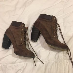 Brown faux-suede booties!